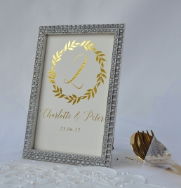 gold table number in frame