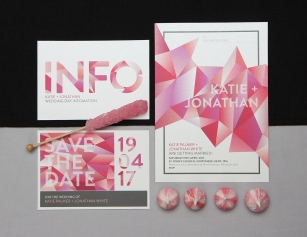 Pink crystal stationery set