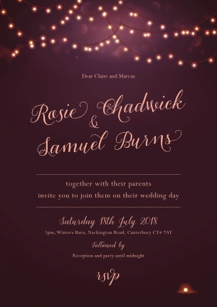Plum nightglow invitation