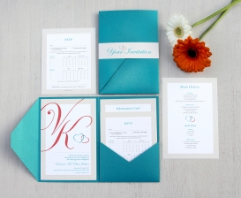 Turquoise and coral pocketfold